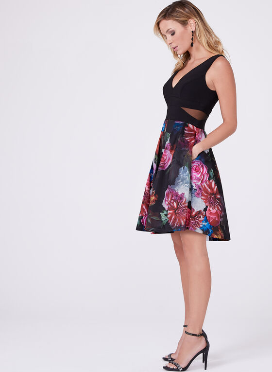 Floral Print Fit & Flare Dress , Red, hi-res