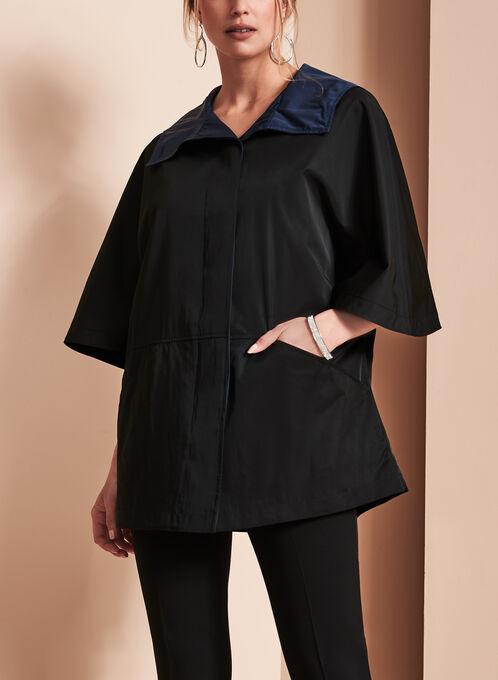 A-Line Poncho Coat , Black, hi-res