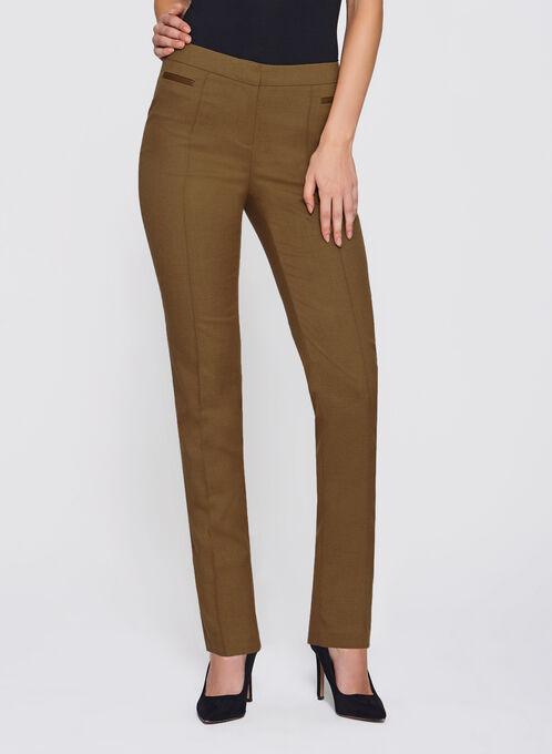Slim Leg Ankle Pants, Brown, hi-res