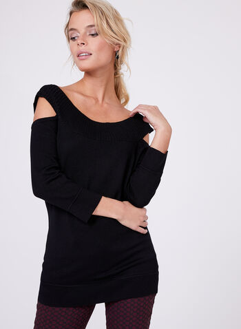 Cleo Neck Knit Sweater, Black, hi-res