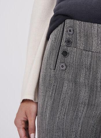 Pantalon jambe large chiné à chevrons et boutons, , hi-res