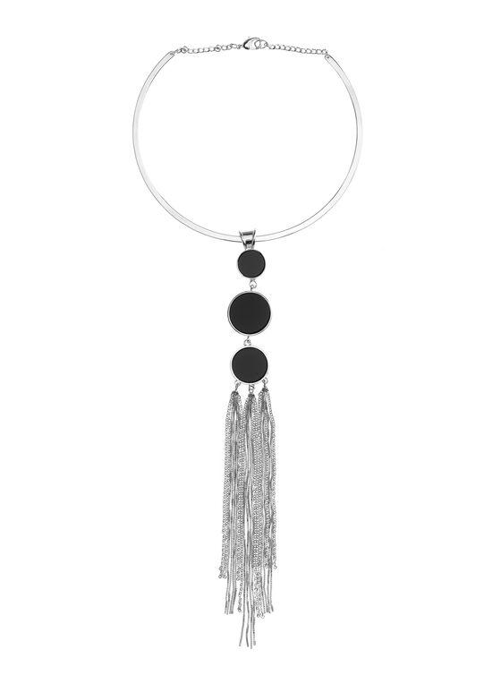 Circle & Chain Pendant Collar Necklace, Black, hi-res