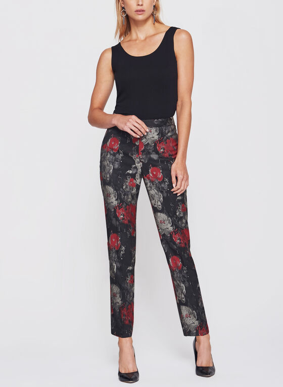 Floral Print Straight Leg Ankle Pants, Black, hi-res