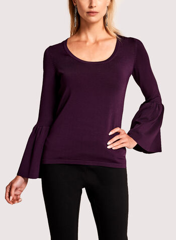 Bell Sleeve Pointelle Sweater, , hi-res