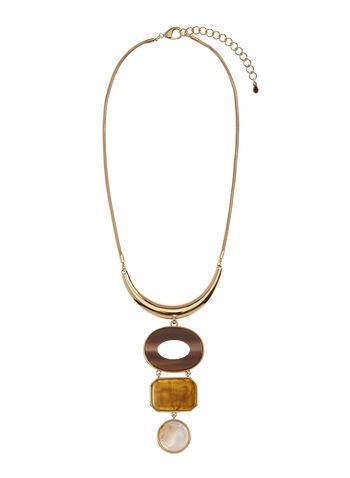 Collier avec pendentif géométrique de pierres, , hi-res