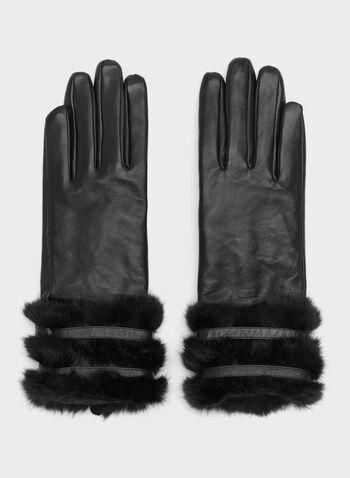 Leather Faux Fur Trim Gloves, , hi-res