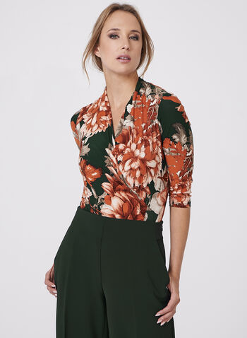 Floral Print Faux Wrap Top, , hi-res