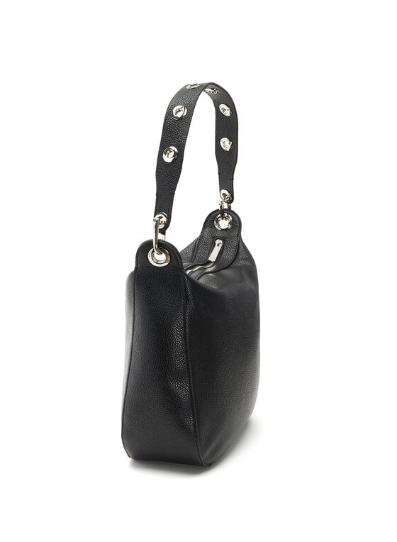 Faux Leather Eyelet Trim Handbag, Black, hi-res