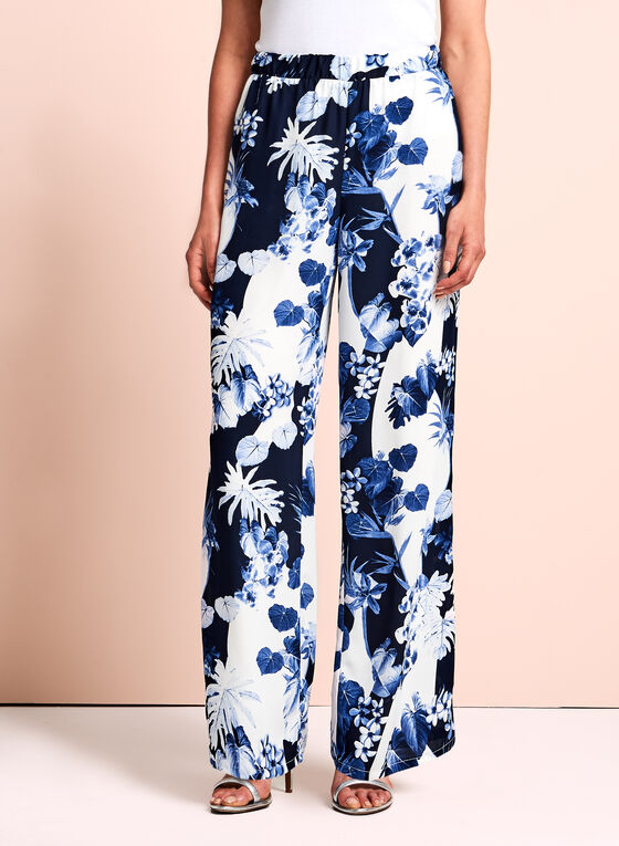 Floral Print Wide Leg Pants, Blue, hi-res