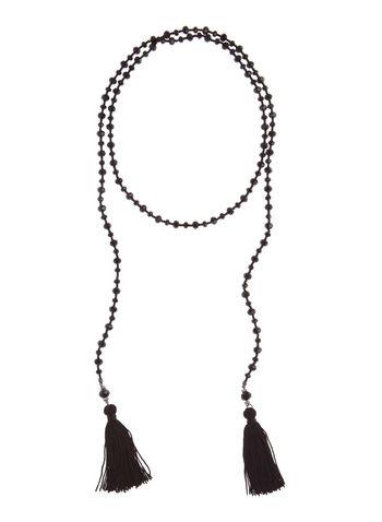 Collier avec perles facettées et pompons, , hi-res