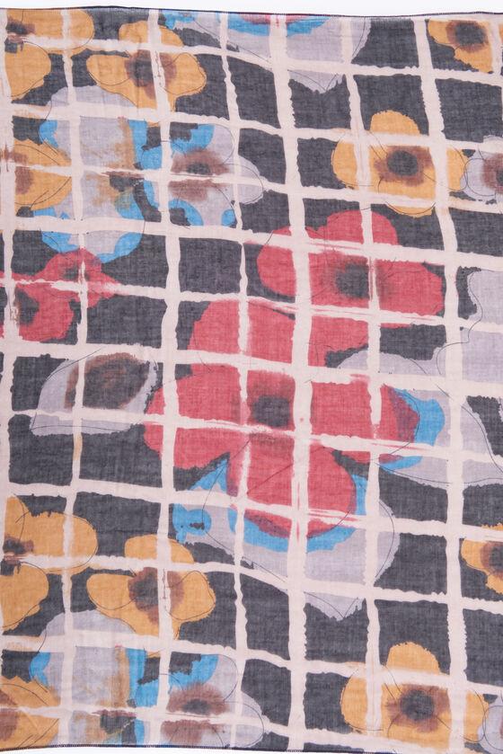 Windowpane Print Scarf, Black, hi-res