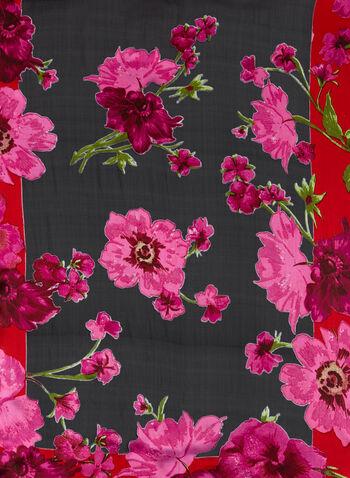 Floral Print Oblong Scarf , , hi-res