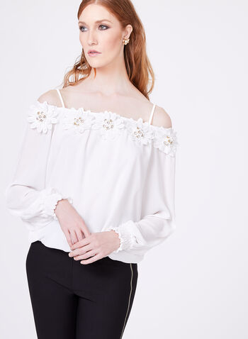 Frank Lyman - Off The Shoulder Appliqué Blouse, , hi-res