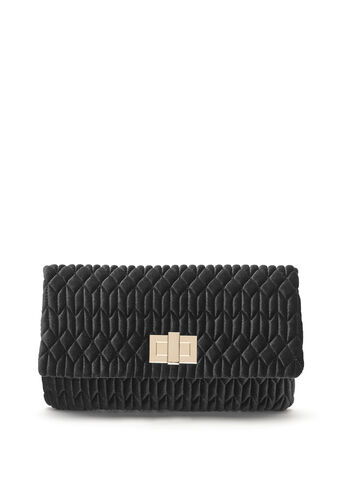 Quilted Velvet Clutch, , hi-res
