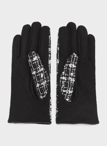 Leather Detail Tweed Gloves, , hi-res
