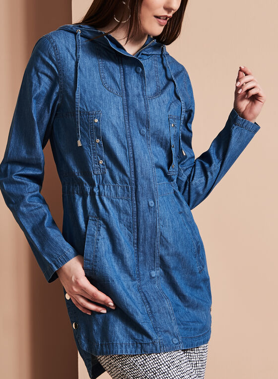 Linea Domani Hooded Denim Anorak, Blue, hi-res