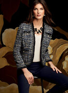 Pearl Embellished Tweed Blazer, Blue, hi-res