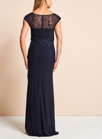 Beaded Embroidered Mesh Gown, , hi-res