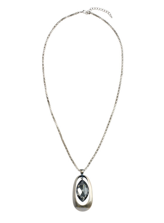 Oval Stone Faceted Pendant Necklace, Grey, hi-res