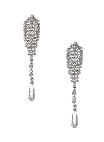 Crystal Mesh Teardrop Earrings, , hi-res
