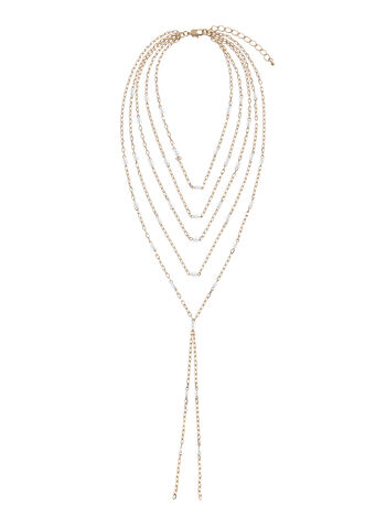Multi-Strand Beaded Chain Necklace, , hi-res