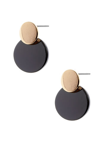 Two-Tone Disc Earrings, , hi-res