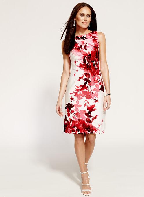 Sleeveless Floral Print Sheath Dress, Red, hi-res