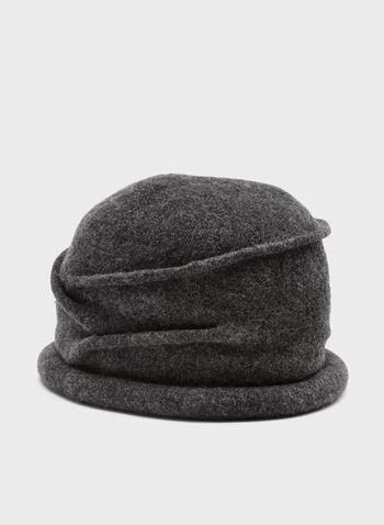 Pleated Wool Hat, Grey, hi-res