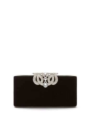 Crystal Closure Velvet Clutch, , hi-res