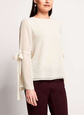 Bell Sleeve Sheer Blouse, , hi-res