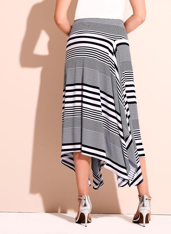 Stripe Print Handkerchief Skirt, Blue, hi-res