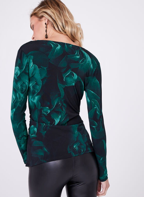 Rose Print Long Sleeve Blouse, Black, hi-res