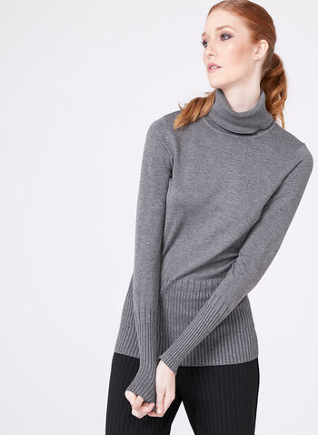 Long Sleeve Turtleneck Sweater, Grey, hi-res
