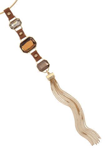 Faux Leather Pendant Tassel Necklace, , hi-res
