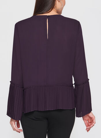 Pleated Bell Sleeve Crepe Blouse, , hi-res