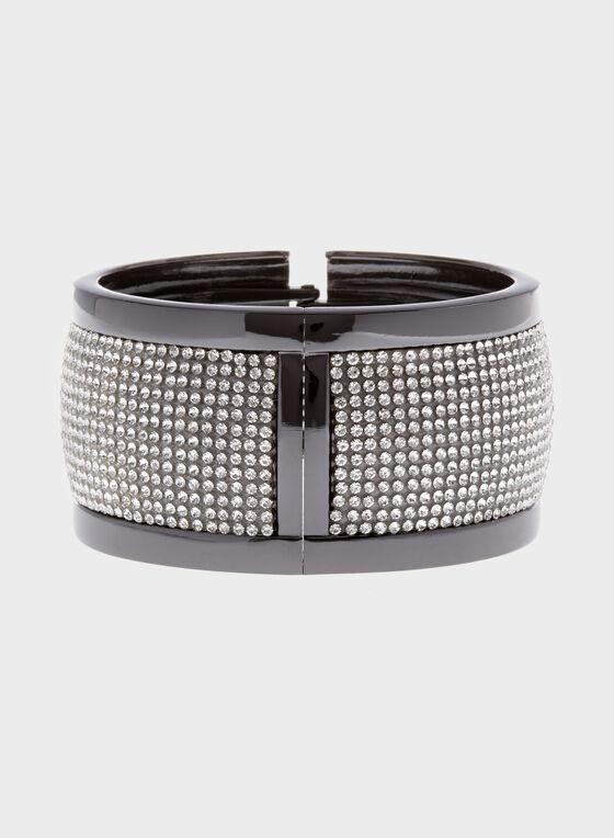 Wide Crystal Hinge Bracelet, Grey, hi-res
