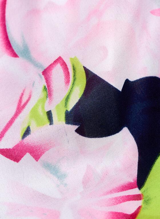 Lace & Rose Print Scarf , Blue, hi-res