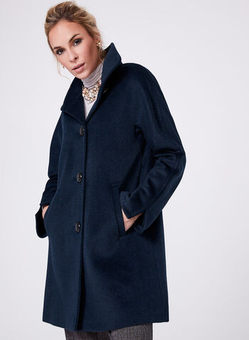 Ellen Tracy - Wool & Angora Blend Coat, Blue, hi-res