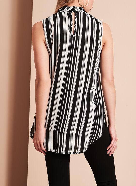 Stripe Print Choker Blouse, Black, hi-res