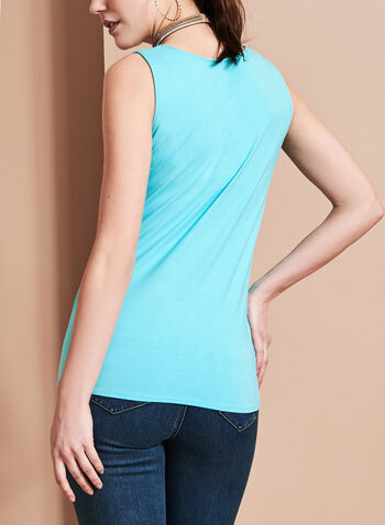 Sleeveless Scoop Neck Cami, Blue, hi-res