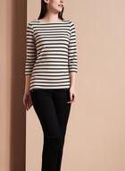 3/4 Sleeve Stripe Print Top , Brown, hi-res