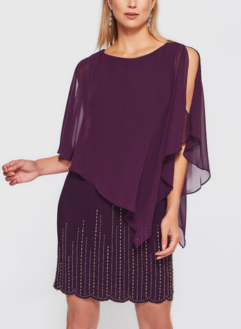 Beaded Chiffon Poncho Dress, , hi-res