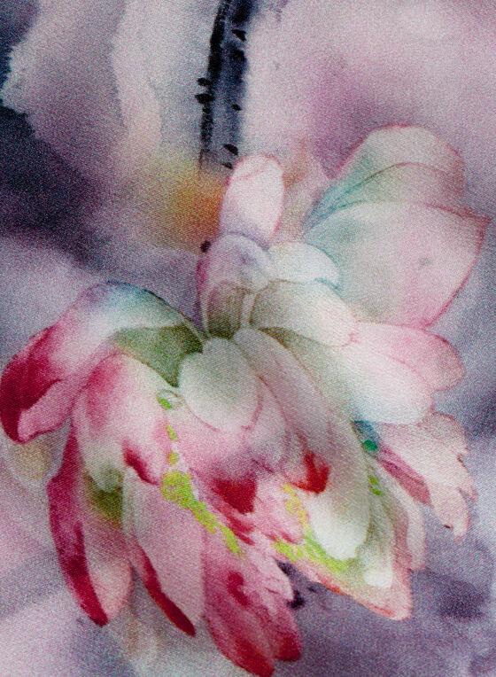 Floral Print Neckerchief, Grey, hi-res