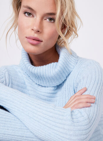 Wool & Angora Cowl Neck Tunic, Blue, hi-res