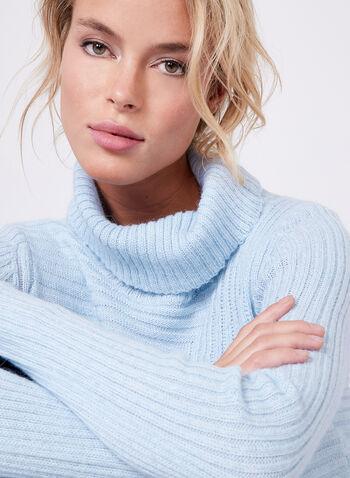 Pull tunique à col roulé en tricot côtelé et angora, Bleu, hi-res