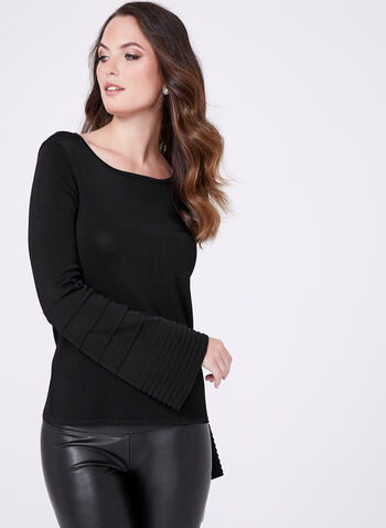 Bell Sleeve Stripe Detail Sweater, Black, hi-res