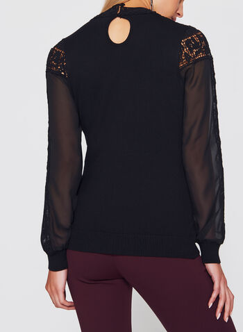 Lace Chiffon Detail Knit Blouse , , hi-res