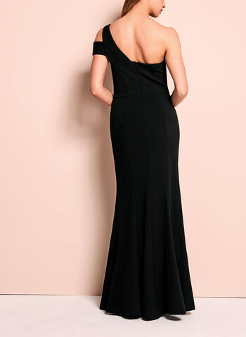 One Shoulder Peplum Crepe Gown, , hi-res