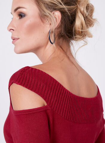 Cleo Neck Knit Sweater, Red, hi-res