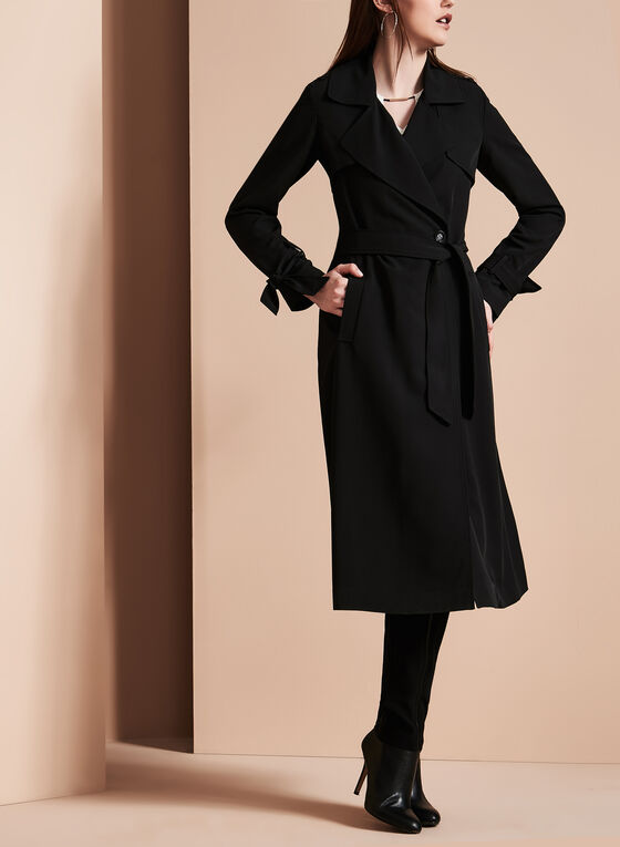 Novelti - Bow Detail Trench Coat, Black, hi-res